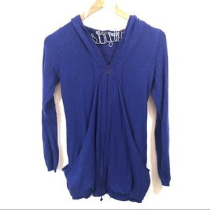 Athleta Burnout V Neck Hoodie in Amafi Blue XS
